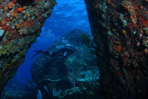 Diver betwen large boulders HD